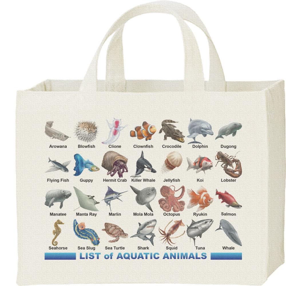 魚類&水棲生物のリスト/キャンバスバッグ・スクエア
