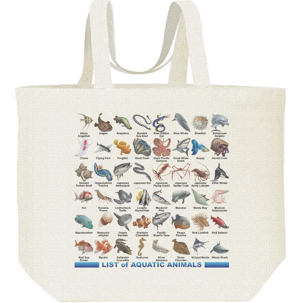 魚類&水棲生物のリスト/キャンバスバッグ・L(エコバッグ)