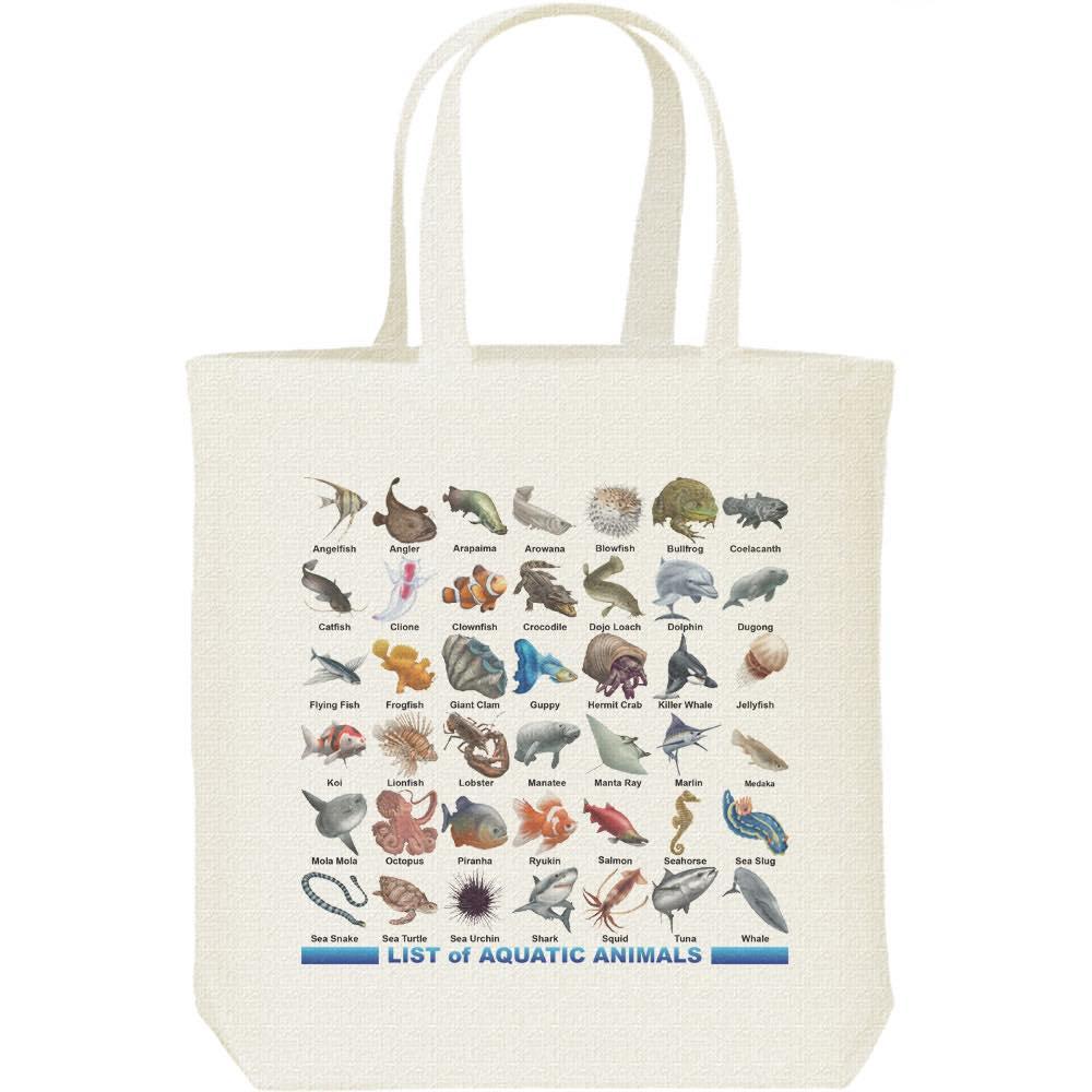 魚類&水棲生物のリスト/キャンバスバッグ・M(トートバッグ)