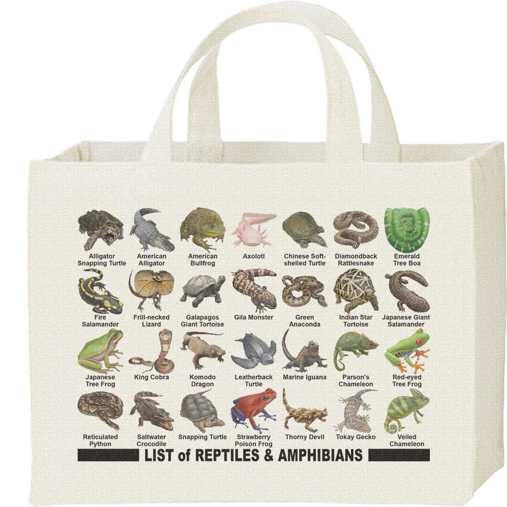 爬虫類&両生類のリスト/キャンバスバッグ・スクエア