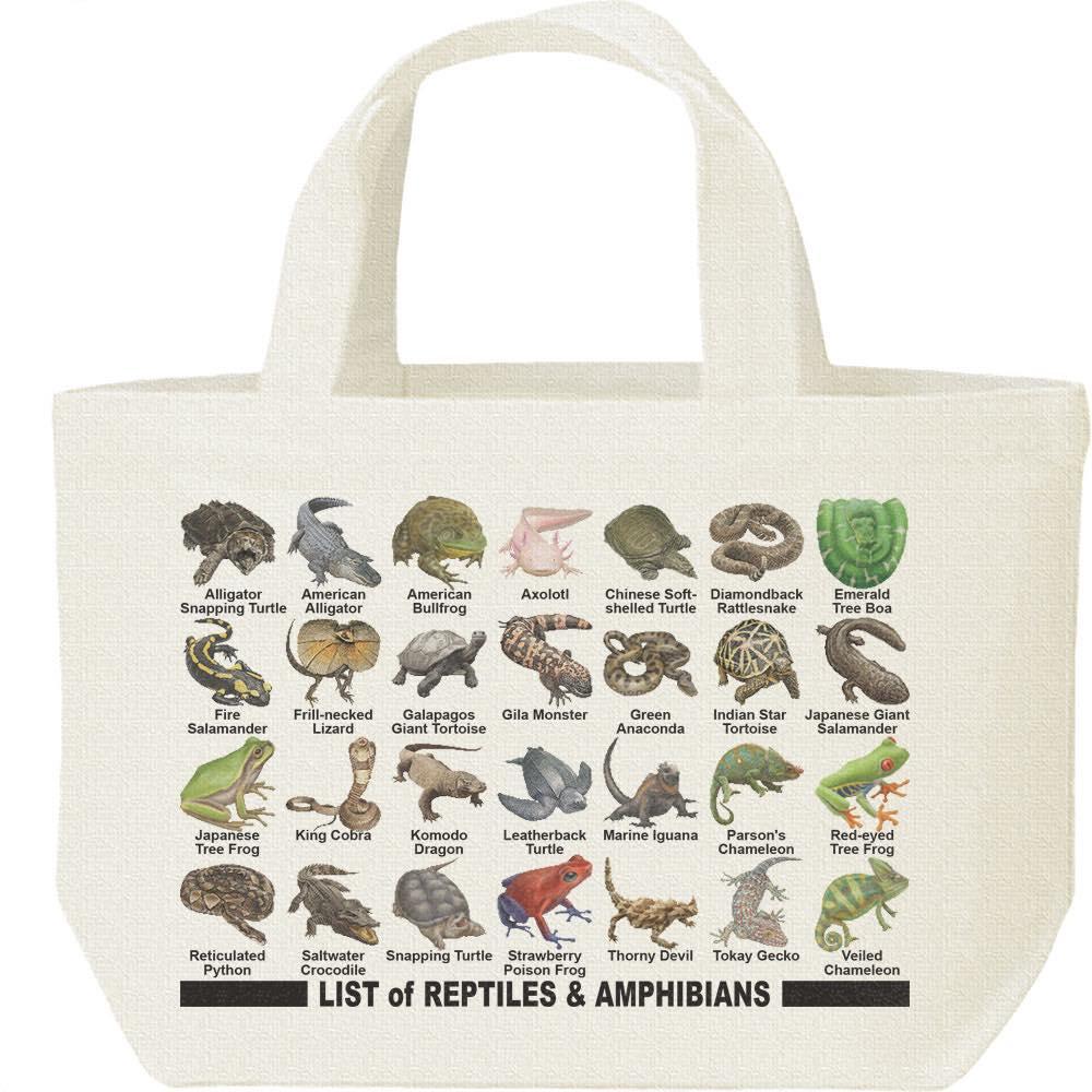 爬虫類&両生類のリスト/キャンバスバッグ・S(ランチバッグ)