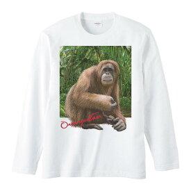 オランウータン +背景/長袖Tシャツ