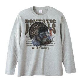 七面鳥(シチメンチョウ)飼育動物・家畜/長袖Tシャツ