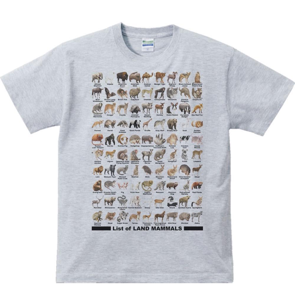 陸上 哺乳類のリスト/半袖Tシャツ