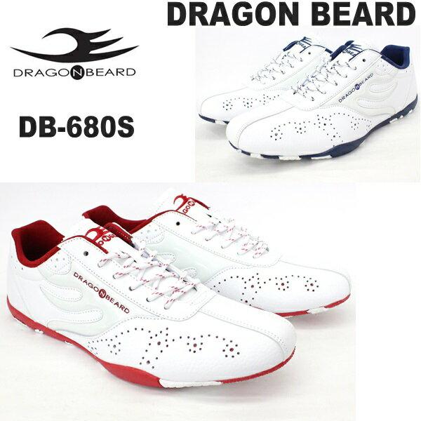 ドラゴンベアード スニーカーDRAGONBEARD DB-680S WHT/WHT/RED WHT/WHT/NVYレザースニーカー 紳士靴 靴ダーツ