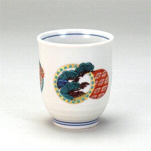1ヶ湯呑 丸紋松竹梅 九谷焼 ( 湯呑み 茶碗 高級 かわいい 可愛い おしゃれ 来客用 湯呑み 湯のみ おしゃれ 茶碗陶瓷器 食器 プレゼント ギフト )