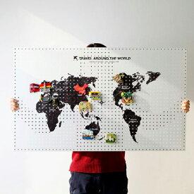 [送料無料]世界地図 ワールドマップ マグネットボード 幅60x高さ100cm スチール プリント イラスト パンチングボード 有孔ボード ペグボード 壁掛け 収納 おしゃれ インテリア 机 片付け 旅先 旅行 思い出 グローバル 子供部屋 DIY 簡単設置