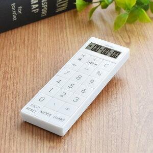 【ゆうパケット対応/代引不可】ドリテック(dretec) 時計付電卓バイブタイマー CL-126WT 時計 タイマー 電卓 バイブ キーロック アラーム スリム 便利