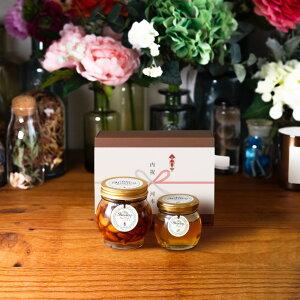 【生はちみつギフト】ナッツの蜂蜜漬けL(200g) + アカシアハニーM(90g) / ブラウンギフトボックス(S) + 熨斗