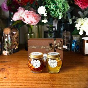 【生はちみつギフト】ナッツの蜂蜜漬けL(200g) + アカシアハニーL(200g) / ブラウンギフトボックス(S) + MYHONEYロゴ入りリボン