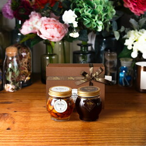 【生はちみつギフト】ナッツの蜂蜜漬けL(200g) + ハニーショコラL(200g) / ブラウンギフトボックス(S) + MYHONEYロゴ入りリボン + 手提げ袋