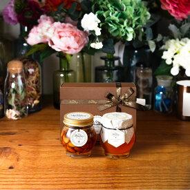 【生はちみつギフト】ナッツの蜂蜜漬けL(200g) + マヌカハニーブレンド(200g)【MGO30+相当】 / ブラウンギフトボックス(S) + MYHONEYロゴ入りリボン + 手提げ袋