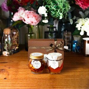 【生はちみつギフト】ナッツの蜂蜜漬けL(200g) + マヌカハニーブレンド(200g)【MGO30+ (UMF5+相当)】 / ブラウンギフトボックス(S) + MYHONEYロゴ入りリボン