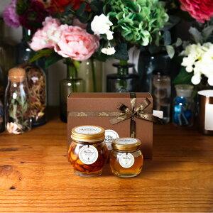 【生はちみつギフト】ナッツの蜂蜜漬けL(200g) + アカシアハニーM(90g) / ブラウンギフトボックス(S) + MYHONEYロゴ入りリボン + 手提げ袋