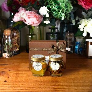 【生はちみつギフト】アカシアハニーL(200g) + ナッツの蜂蜜漬け エトワールL(200g) / ブラウンギフトボックス(S) + MYHONEYロゴ入りリボン