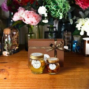 【生はちみつギフト】アカシアハニーL(200g) + ナッツの蜂蜜漬けM(80g) / ブラウンギフトボックス(S) + MYHONEYロゴ入りリボン + 手提げ袋