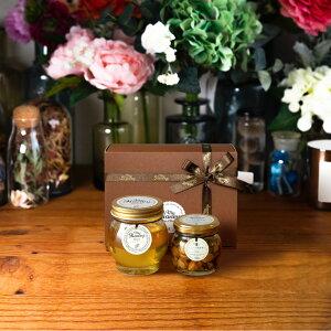 【生はちみつギフト】アカシアハニーL(200g) + ナッツの蜂蜜漬け エトワールM(90g) / ブラウンギフトボックス(S) + MYHONEYロゴ入りリボン