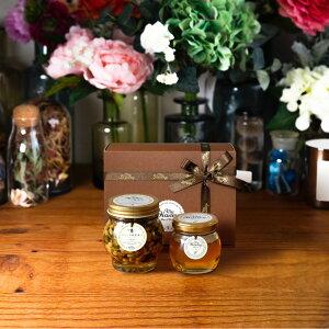【生はちみつギフト】ナッツの蜂蜜漬け エトワールL(200g) + アカシアハニーM(90g) / ブラウンギフトボックス(S) + MYHONEYロゴ入りリボン