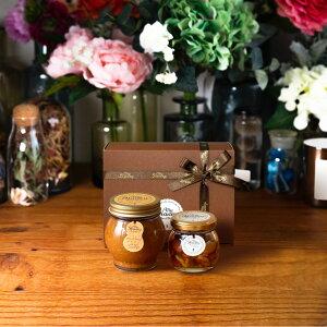 【生はちみつギフト】ピーナッツハニーL(200g) + ナッツの蜂蜜漬けM(80g) / ブラウンギフトボックス(S) + MYHONEYロゴ入りリボン + 手提げ袋