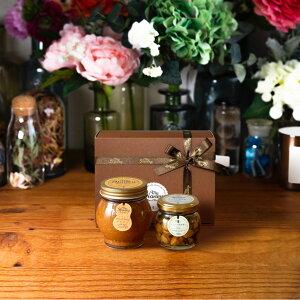 【生はちみつギフト】ピーナッツハニーL(200g) + ナッツの蜂蜜漬け エトワールM(90g) / ブラウンギフトボックス(S) + MYHONEYロゴ入りリボン + 手提げ袋
