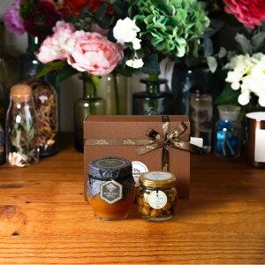 【生はちみつギフト】マヌカハニーメディカル(200g)【MGO400+ (UMF13+相当)】 + ナッツの蜂蜜漬け エトワールM(90g) / ブラウンギフトボックス(S) + MYHONEYロゴ入りリボン + 手提げ袋