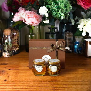 【生はちみつギフト】アカシアハニーM(90g) + ナッツの蜂蜜漬け エトワールM(90g) / ブラウンギフトボックス(S) + MYHONEYロゴ入りリボン