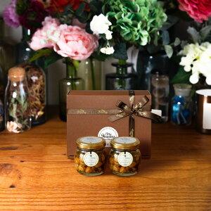 【お中元にも | 生はちみつギフト】ナッツの蜂蜜漬け エトワールM(90g)× 2 / ブラウンギフトボックス(S) + MYHONEYロゴ入りリボン