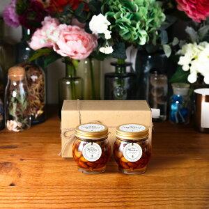 【生はちみつギフト】ナッツの蜂蜜漬けL(200g)× 2 / ナチュラルクラフトボックス(M) + 麻紐リボン
