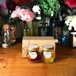 【生はちみつギフト】ナッツの蜂蜜漬けL(200g) + アカシアハニーL(200g) / ナチュラルクラフトボックス(M) + 麻紐リボン + 手提げ袋