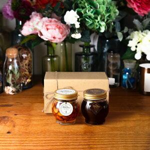 【生はちみつギフト】ナッツの蜂蜜漬けL(200g) + ハニーショコラL(200g) / ナチュラルクラフトボックス(M) + 麻紐リボン