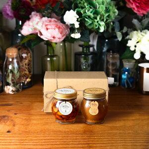 【生はちみつギフト】ナッツの蜂蜜漬けL(200g) + ピーナッツハニーL(200g) / ナチュラルクラフトボックス(M) + 麻紐リボン
