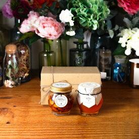 【生はちみつギフト】ナッツの蜂蜜漬けL(200g) + マヌカハニーブレンド(200g)【MGO30+相当】 / ナチュラルクラフトボックス(M) + 麻紐リボン + 手提げ袋