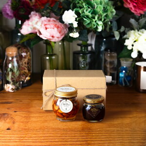 【生はちみつギフト】ナッツの蜂蜜漬けL(200g) + ハニーショコラM(90g) / ナチュラルクラフトボックス(M) + 麻紐リボン
