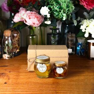 【生はちみつギフト】アカシアハニーL(200g) + ナッツの蜂蜜漬けM(80g) / ナチュラルクラフトボックス(M) + 麻紐リボン