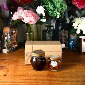 【生はちみつギフト】ハニーショコラL(200g) + ナッツの蜂蜜漬けM(80g) / ナチュラルクラフトボックス(M) + 麻紐リボン