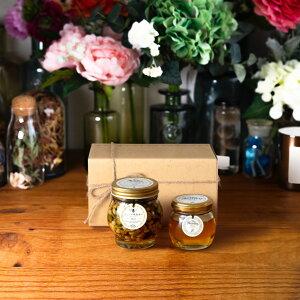 【生はちみつギフト】ナッツの蜂蜜漬け エトワールL(200g) + アカシアハニーM(90g) / ナチュラルクラフトボックス(M) + 麻紐リボン