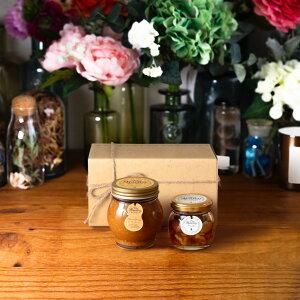 【生はちみつギフト】ピーナッツハニーL(200g) + ナッツの蜂蜜漬けM(80g) / ナチュラルクラフトボックス(M) + 麻紐リボン + 手提げ袋