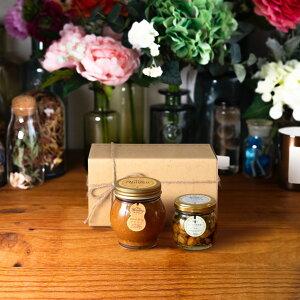【生はちみつギフト】ピーナッツハニーL(200g) + ナッツの蜂蜜漬け エトワールM(90g) / ナチュラルクラフトボックス(M) + 麻紐リボン + 手提げ袋 + 手提げ袋