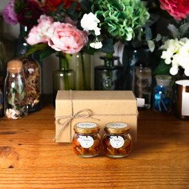 【生はちみつギフト】ナッツの蜂蜜漬けM(80g)× 2 / ナチュラルクラフトボックス(M) + 麻紐リボン + 手提げ袋