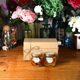 【生はちみつギフト】ナッツの蜂蜜漬けM(80g) + アカシアハニーM(90g) / ナチュラルクラフトボックス(M) + 麻紐リボン + 手提げ袋