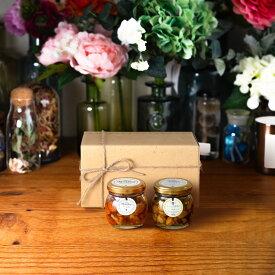 【生はちみつギフト】ナッツの蜂蜜漬けM(80g) + ナッツの蜂蜜漬け エトワールM(90g) / ナチュラルクラフトボックス(M) + 麻紐リボン