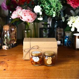 【生はちみつギフト】ナッツの蜂蜜漬けM(80g) + ピーナッツハニーM(90g) / ナチュラルクラフトボックス(M) + 麻紐リボン