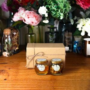 【生はちみつギフト】アカシアハニーM(90g) + ナッツの蜂蜜漬け エトワールM(90g) / ナチュラルクラフトボックス(M) + 麻紐リボン
