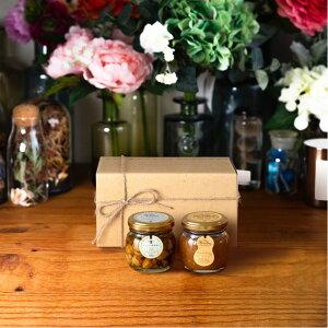 【生はちみつギフト】ナッツの蜂蜜漬け エトワールM(90g) + ピーナッツハニーM(90g) / ナチュラルクラフトボックス(M) + 麻紐リボン + 手提げ袋