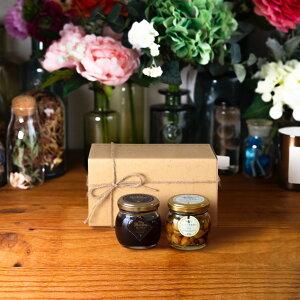 【生はちみつギフト】ハニーショコラM(90g) + ナッツの蜂蜜漬け エトワールM(90g) / ナチュラルクラフトボックス(M) + 麻紐リボン