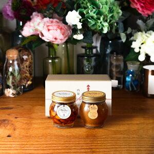 【生はちみつギフト】ナッツの蜂蜜漬けL(200g) + ピーナッツハニーL(200g) / ナチュラルクラフトボックス(M) + 熨斗