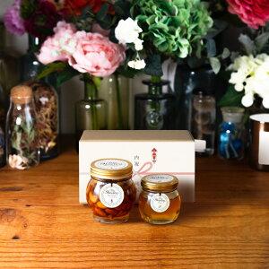 【生はちみつギフト】ナッツの蜂蜜漬けL(200g) + アカシアハニーM(90g) / ナチュラルクラフトボックス(M) + 熨斗