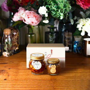 【生はちみつギフト】ナッツの蜂蜜漬けL(200g) + ピーナッツハニーM(90g) / ナチュラルクラフトボックス(M) + 熨斗 + 手提げ袋