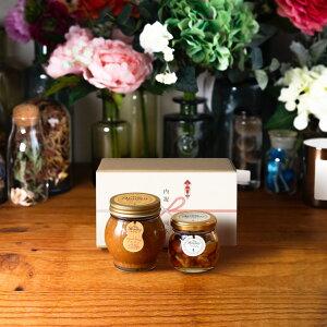 【生はちみつギフト】ピーナッツハニーL(200g) + ナッツの蜂蜜漬けM(80g) / ナチュラルクラフトボックス(M) + 熨斗