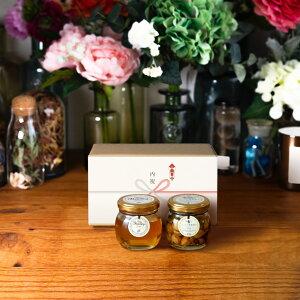 【生はちみつギフト】アカシアハニーM(90g) + ナッツの蜂蜜漬け エトワールM(90g) / ナチュラルクラフトボックス(M) + 熨斗 + 手提げ袋